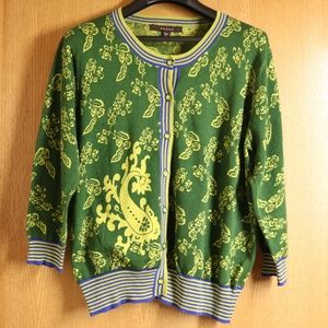 🌲 Green Paisley Fever Button Down Cardigan Sz XL